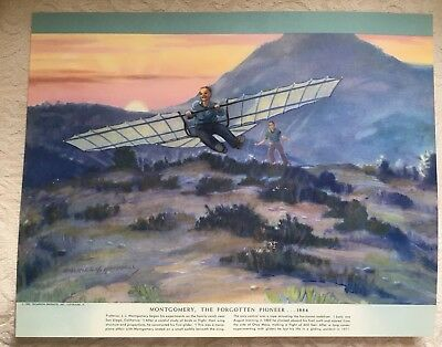 1952 Charles Hubbell print MONTGOMERY 1884 Airplane History of Flight