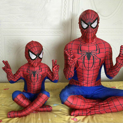 Kids Men Spiderman Boys Black Red Fancy Dress Costume Halloween Party Cosplay AU