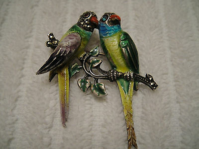 Vintage Sterling Silver Enamel Couple Parrot Brooch Pin Germany German