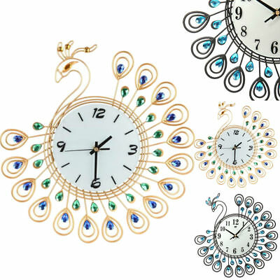 Vintage Peacock Style Antique Wall Clock Home Living Room Office Retro Decor