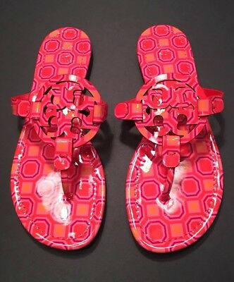 56d0c34991f1f New Tory Burch Miller Printed Patent Sandal In Vivid Orange Octagon Size 7  1 2