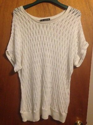 Maurices Short Sleeve Sweater ~ Measures 2X~ White Sparkly