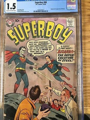Superboy (1st Series DC) #68 1958 CGC Graded 1.5 1st appearance bizarro