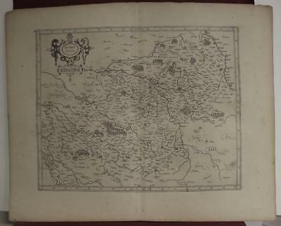 Bourges Berry France 1619 Mercator/hondius Unusual Antique Copper Engraved Map