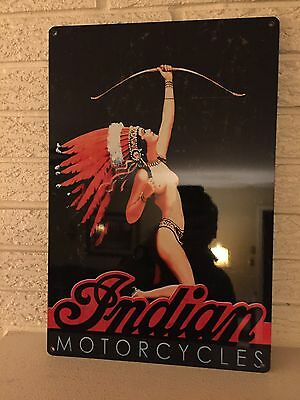 """Indian Motorcycles Logo Aluminum Sign New Size 12"""" x 18"""" Art Deco Indian Girl DL"""