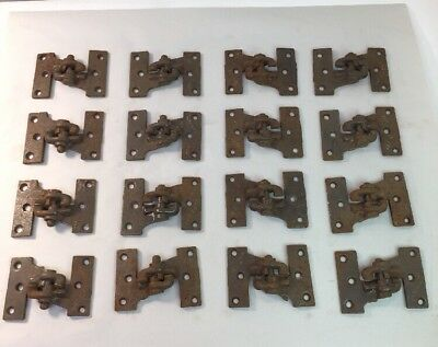 Antique Lot 16 Cast Iron Right And Left Mortise Shutter Hinges