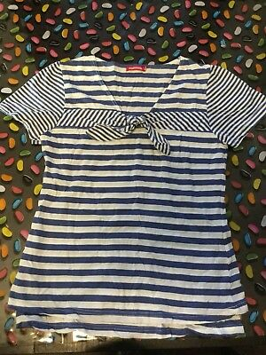 Mamaway Maternity Breastfeeding T-Shirt Blue And White Sailor Stripes VGUC Size