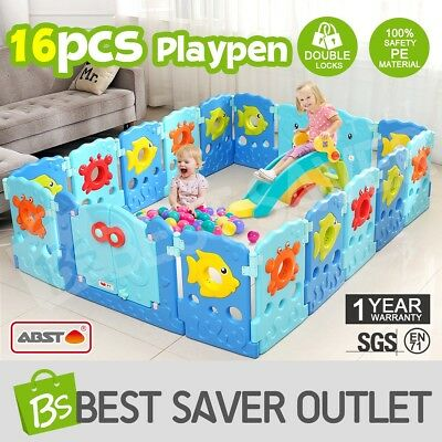 16 Sided Baby Playpen Interactive Kids Toddler Toy Baby Room Safety Gate ABST