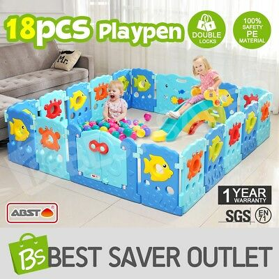 ABST 18 Sided Panel Baby Playpen Interactive Kids Toddler Baby Room Safety Gate