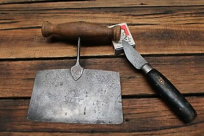 Vintage Flat Round Blade Knife Chopper Dexter Leather Southbridge Old Tool