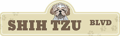 "Shih Tzu Street Sign | Indoor/Outdoor | Dog Lover Funny Home Décor 18"" Wide"