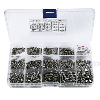 480 Pcs M2 M3 M4 304 Stainless Steel Cross Pan Cap Head Bolts Screws Nuts Kit