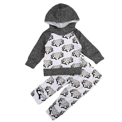 US STOCK Infant Baby Kids Boys Girls Cotton Hooded Tops+ Pants Bodysuits Outfits