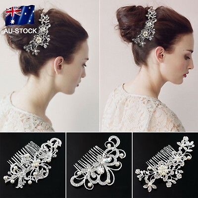 Bridal Wedding Hair Comb Crystal Rhinestones Pearl Women Hair Side Pin Headpiece