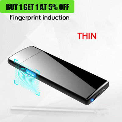 Fingerprint Touch USB Rechargeable Dual Arc Flameless Plasma Electric Lighter QQ