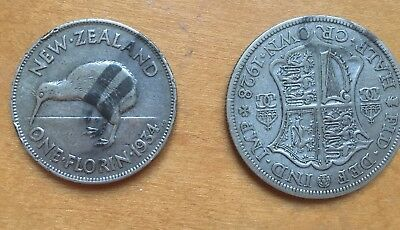 Lot of 2 Silver Coins: 1934 New Zealand Florin, 1928 British 1/2 Crown