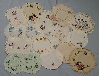 16 Small Vintage Embroidered Doilies
