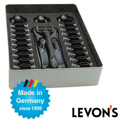 NEW Mens Levons 5-Blade Shaver w/ 24 Razor Refill Pack Black - Hair Removal