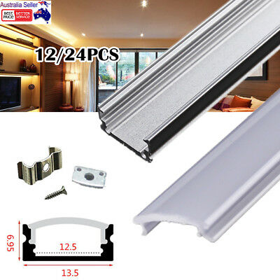 12/24X 1M Aluminum LED Profile Channel for LED Strip Lights with Milky Diffuser