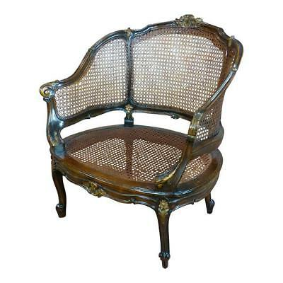 Beautiful French Louis XVI carved Walnut Cane Corbeille Chair