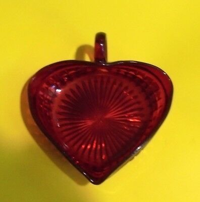 Unusual Early Small Red Glass Heart Shaped Dish Or Jug