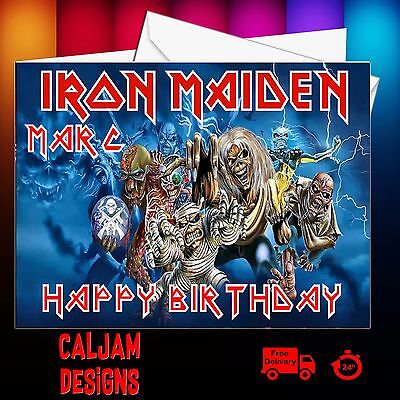 Iron Maiden Birthday Card Personalised Any Name Or Relation And Age