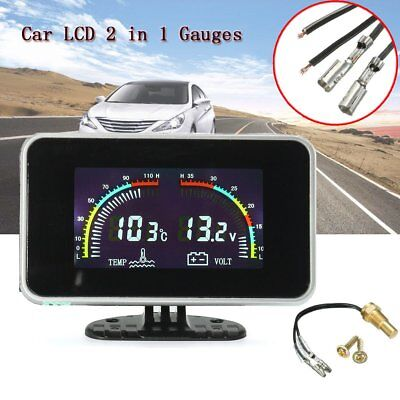 Car 2in1 LCD Digital Display Voltmeter Kits Gauge Water Temperature Meter 12-24V