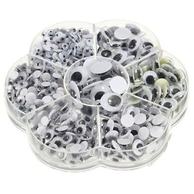 New 700Pcs/Box 7 Sizes DIY Round Self-adhesive Wiggly Googly Eyes For Doll X9F5
