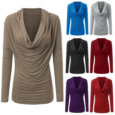 Women Long Sleeve Cowl Neck Autumn Winter T Shirt Pullover Tops Blouse Plus Size