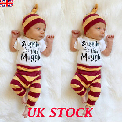 91bc7fc5e 3PCS HARRY POTTER Snuggle This Muggle Baby Clothes Top Pants Beanie ...