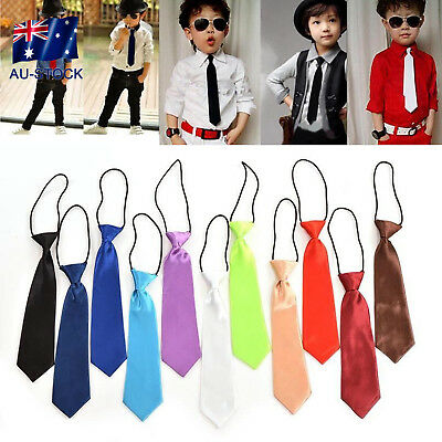 AU-STOCK School Boys Kids Children Baby Wedding Solid Colour Elastic Tie Necktie