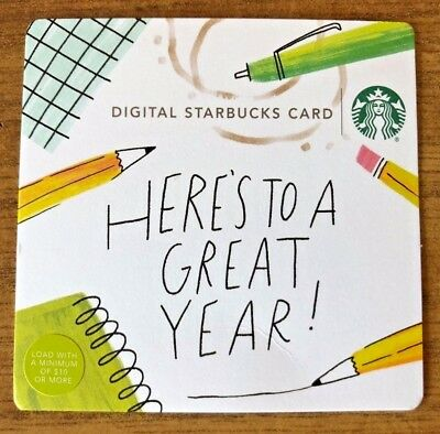 Starbucks 2018 Here's to a Great Year Back to School Digital Paper Gift Card