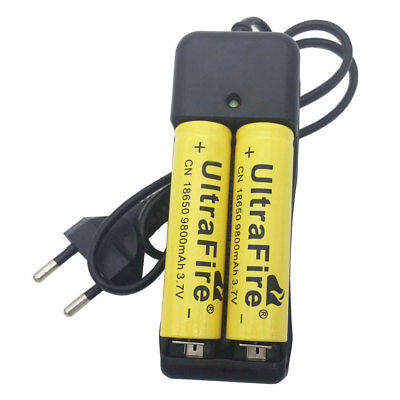 2X 18650 9800mAh Battery 3.7V Li-ion Rechargeable Batteries and EU Plug Charger