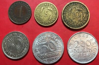 German Coins (Weimar Republic 6 Coins)