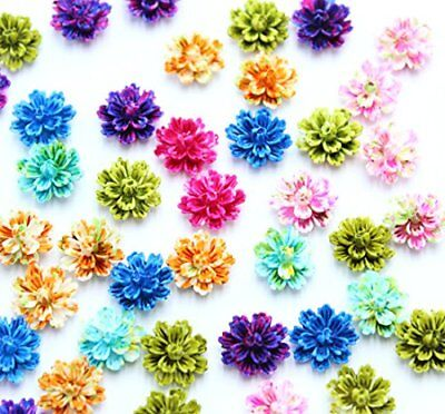 50pcs Resin Flower Layered Daisy Flowers Flatback Resin Cabochon 12mm Mix Colors