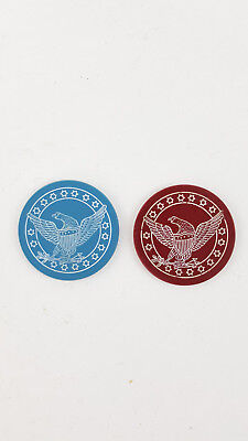 vintage clay casino chip Scrimshaw U.S. Eagle Shield Douuble sided mint cond.