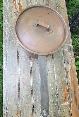 vintage copper cooking handled pot with lid