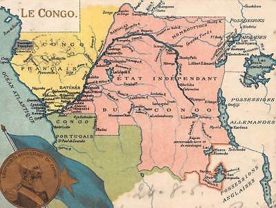 Congo map King Leopold II 1905 Court Size Postcard