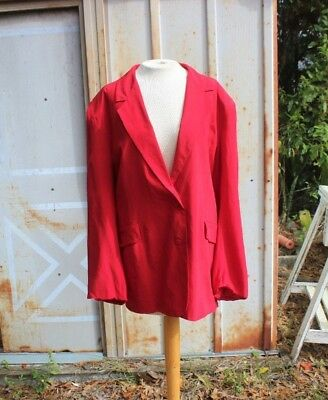 Vintage 1980's Bright Red Oversized Low Drop Paolo Gucci Silk Blazer Jacket -XL
