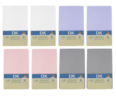 DK Glovesheets GOTS Certified 100% Organic Cotton Fitted Crib Sheets - 84x38cm