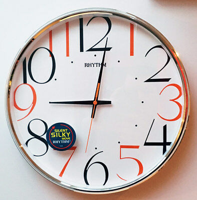 NEW Kitchen Home Wall Clock Modern Retro Coloured Numbers Silent Bedroom No Tick