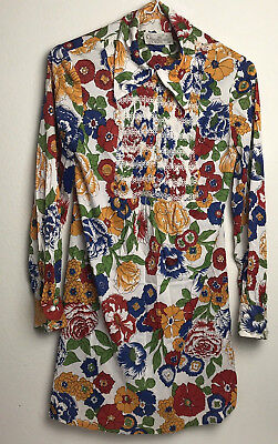 Vintage 60's House Of She Floral Mod Multicolor Mini Dress Womens Small