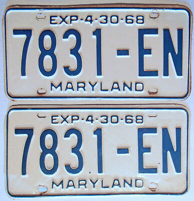 1967 - 1968 Maryland Truck License Plates Pair Blue And White