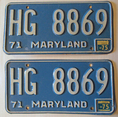 1971  - 1975 Maryland License Plates Pair Blue And White