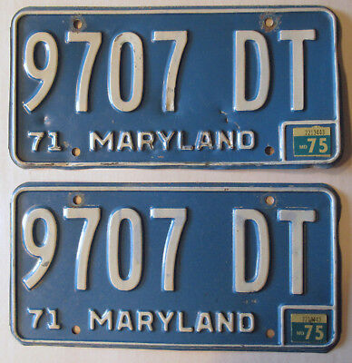 1971 - 1975 Maryland Truck License Plates Pair Blue And White