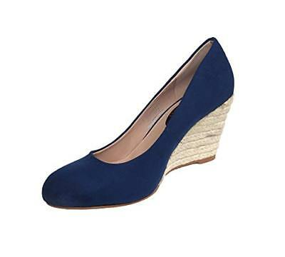 Ladies Womens Blue Faux Suede Store Summer Wedge Espadrille Wedges Shoes Size 5