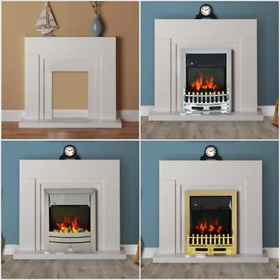 Modern White Flat Wall 2kw Electric Fire Surround Set Complete Fireplace