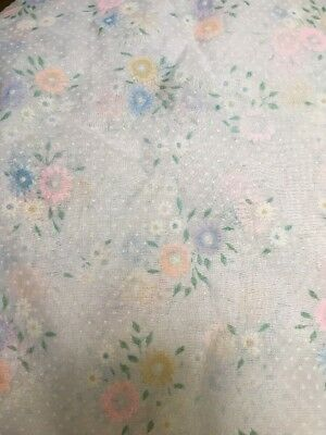 3pcs Vintage Flocked Sheer Fabric, Swiss dots and Pastel Daisys 1960's 5yrds +