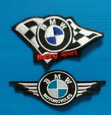2 Lot BMW  MOTORCYCLE AVERAGE 3 TO 4 INCH Easy Iron Or Sewn On Patches Free Ship