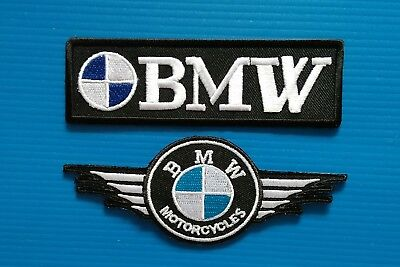 2 Lot BMW  MOTORCYCLE AVERAGE 4 INCH. Easy Iron Or Sewn On Patches Free Ship